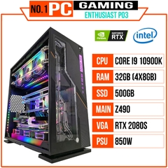 PC ENTHUSIAST GAMING PLATINUM 03 (i9 10900K/Z490/32GB RAM/500GB SSD/RTX 2080 SUPER/850W/WATERCOOLING EK/RGB)