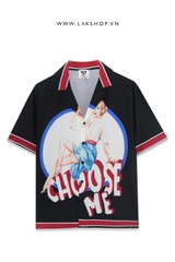 Choose Me Print Black  Short Sleeve Shirt