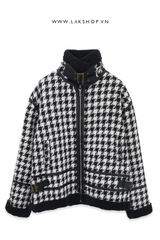 Houndstooth Tweed  with Black Fur jacket