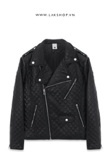 Mono Checker Faux Leather Biker Jacket