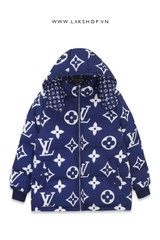 Áo Louis Vuitton Monogram Blue Puffer Jacket ds10