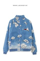 Áo Blue Cloud Faux Fur OversizedJacket