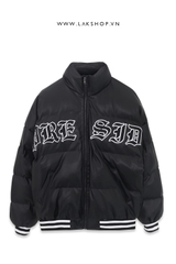 Áo Black Leather Slogan Bomber Puffer Jacket