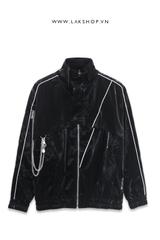 Oversized Leather Effect Jacket with Chain