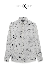 Lak Studios Paint Scattered Print White Shirt