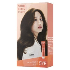 Kem Nhuộm Tóc Amos Color Genic It's Glow Hair 5YB Yellow Brown Nâu Ánh Vàng 80ml