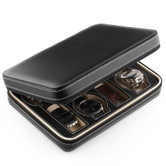 Hộp đựng đồng hồ, dòng du lịch, 8 chiếc Amzdeal Black Leather 8 Slot Zippered Traveler's Watch Case