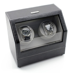 Hộp đựng đồng hồ cơ, 2 chiếc Heiden Double Watch Winder in Black Leather