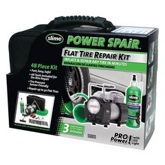 Bộ bơm vá lốp ô tô mini Slime 70004 Power Spair 48 Piece Tire Repair Kit