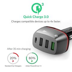 Sạc xe hơi Anker Quick Charge 3.0 & USB Type-C 54W 4-Port USB Car Charger