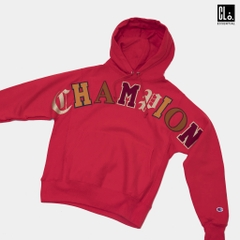 Champion, Reverse Weave Pullover Hoodie, Old English Lettering - Red