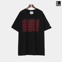 Champion, Classic Jersey Tee, Repeating Block Logo - Black
