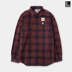 CARHARTT, ORIGINAL FIT FLANNEL LONG-SLEEVE PLAID SHIRT - Mineral Red