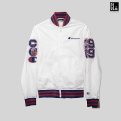Champion LIFE, Stain Baseball Jacket w/ Multi Patches - White/Surf The Web