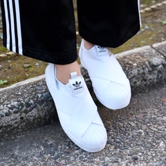 [S81338] W ADIDAS SUPERSTAR SLIP ON ALL WHITE LOGO BLACK