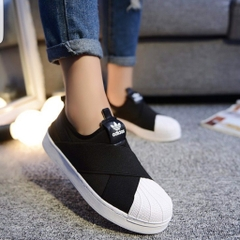 [BZ0112] M ADIDAS SUPERSTAR SLIP ON BLACK WHITE