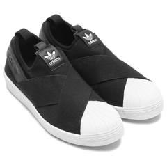 [S81337] W ADIDAS SUPERSTAR SLIP ON BLACK WHITE