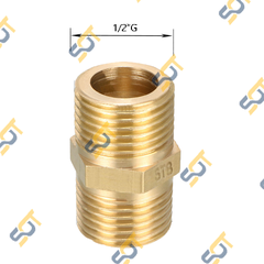 Kép - Hai ren ngoài (Brass pipe fitting reducing-hexagon nipple) - Bằng đồng