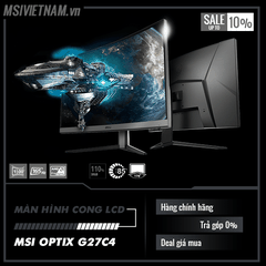 Màn hình LCD MSI Optix G27C4 (Spec: 27inch Cong, Full HD, 165Hz 1ms, 110% sRGB)