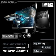 Màn hình LCD MSI OPTIX MAG271C (Spec: 27inch Cong, Full HD, 144Hz 1ms, 115% sRGB)