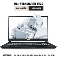 Laptop Workstation MSI WE75 9TK | i7-9750H | DDR IV 16GB*2 (2666MHz) | SSD 512GB NVMe PCIe +1TB (SATA) 7200rpm | Quadro RTX3000, 6GB GDDR6 | 17.3