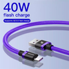 Cáp sạc nhanh Type C Baseus Purple Gold HW Flash Charge Cable cho Huawei/ Xiaomi (40W, 5A , QC3.0/ Huawei Super Quick charge)