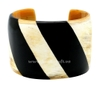 Horn cuff bracelet with black lacquer