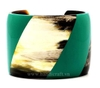 Horn cuff bracelet with green lacquer