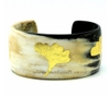 Horn cuff bracelet with golden leave lacquer
