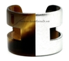 Horn & silver lacquer cuff bracelet