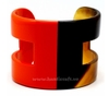 Horn & red lacquer cuff bracelet