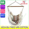 [4843B] XÍCH ĐU VẢI COTTON REN TRẮNG - Portalbe cotton swing chair with white lace trim