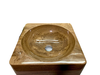 BST59 - STONE BASIN - POLISHED WOODEN YELLOW MARBLE - SQUARE SHAPE WITH THICK BOTTOM
