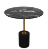 MARBLE SIDE TABLE - CYLINDER SHAPED BASE - T7 - BLACK MARBLE
