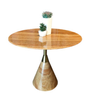 MARBLE LOW SIDE TABLE - CONE SHAPED BASE - T16 - WOODEN YELLOW