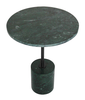 MARBLE SIDE TABLE - CYLINDER SHAPED BASE - T7 - INDIA GREEN