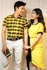 Couple 2 Pocket Shirt & Black Band Yellow Dress