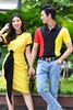 Couple Strong Shoulder Polo & Black Band Yellow Dress
