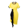 Pleated Neck Sleeve Black Band Yellow Dress