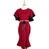 Cascade Sleeve Pearl Belt mixed Black Red Dress